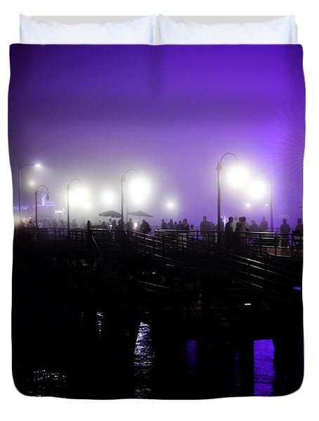 Duvet Cover featuring the photograph Cool Night At Santa Monica Pier by Clayton Bruster