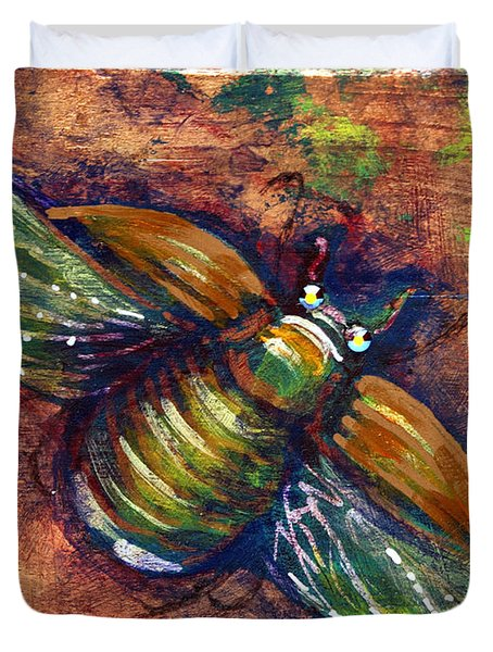 Copper Beetle Duvet Cover