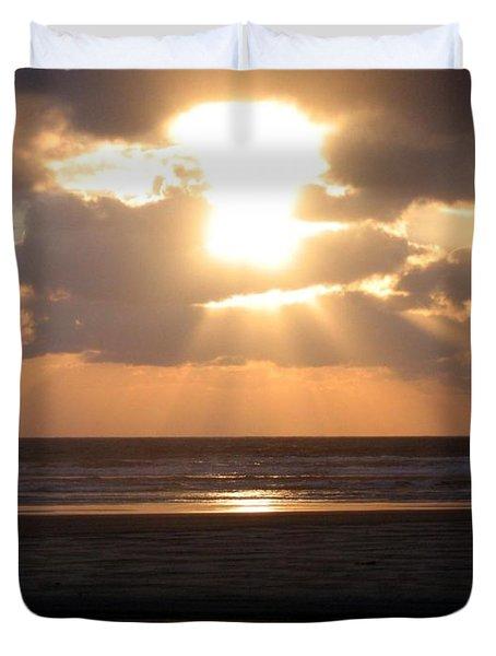 Copper Sunset Stroll Duvet Cover by Will Borden