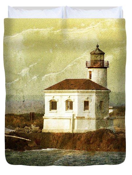 Coquille River Lighthouse Duvet Cover by Jill Battaglia