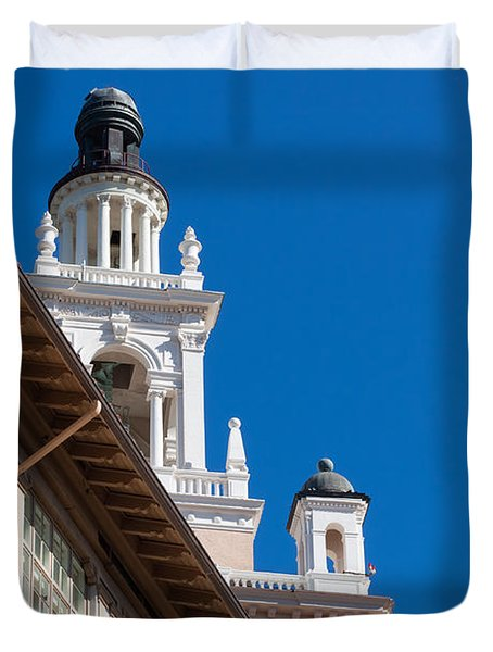 Duvet Cover featuring the photograph Coral Gables Biltmore Hotel Tower by Ed Gleichman