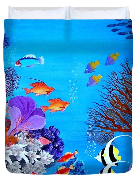 Duvet Cover featuring the painting Coral Garden by Fram Cama