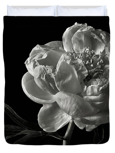 Coral Peony In Black And White Duvet Cover by Endre Balogh