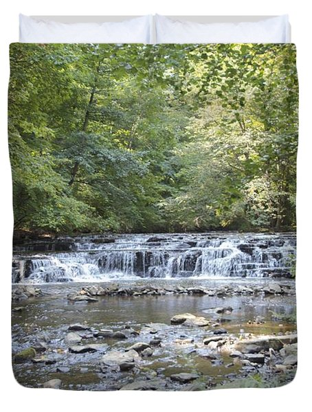 Duvet Cover featuring the photograph Corbetts Glen Waterfall by William Norton
