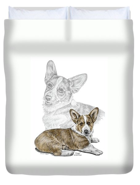 Corgi Dog Art Print Color Tinted Duvet Cover by Kelli Swan