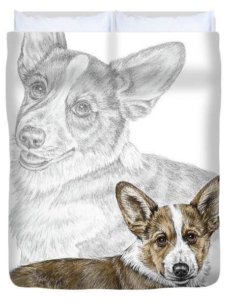 Corgi Dog Art Print Color Tinted Duvet Cover