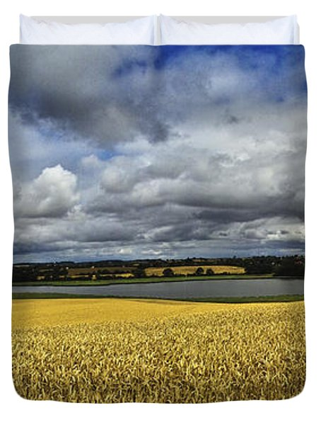 Corn Field Panorama Duvet Cover by Heiko Koehrer-Wagner
