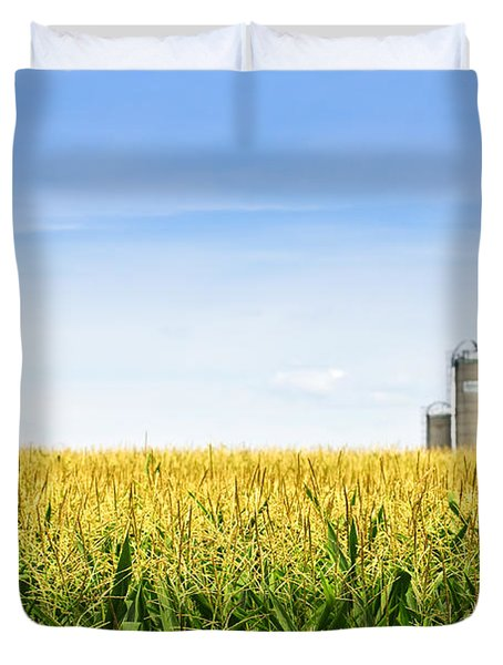 Corn Field With Silos Duvet Cover