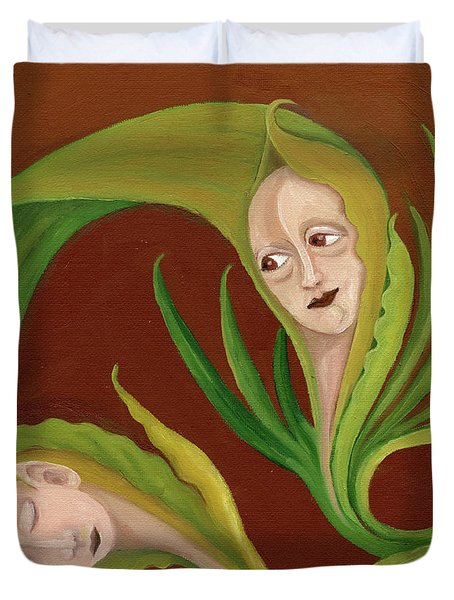 Corn Love Fantastic Realism Faces In Green Corn Leaves Sleeping Or Dead Loving Or Mourning Gree Duvet Cover