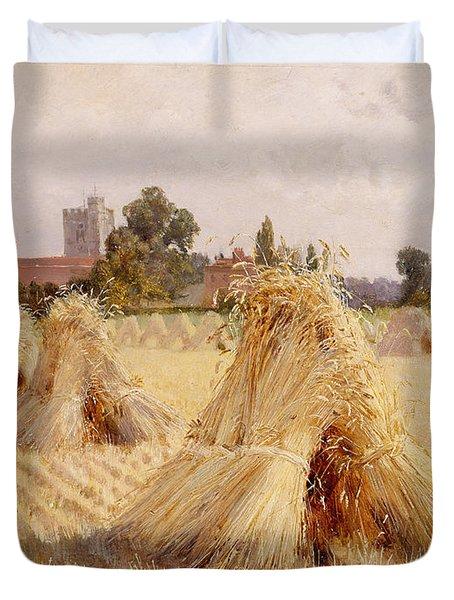 Corn Stooks By Bray Church Duvet Cover by Heywood Hardy
