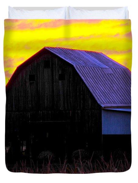 Duvet Cover featuring the photograph Cornfield Barn Sky by Randall Branham