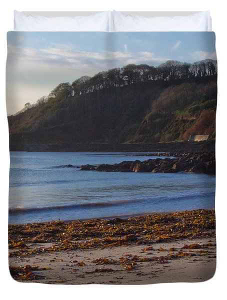 Cornish Seascape Meanporth Duvet Cover