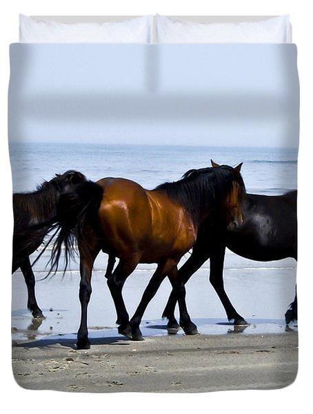 Corolla Beach Horses Duvet Cover