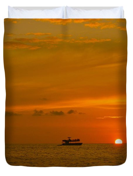 Duvet Cover featuring the photograph Costa Rica Sunset by Eric Tressler