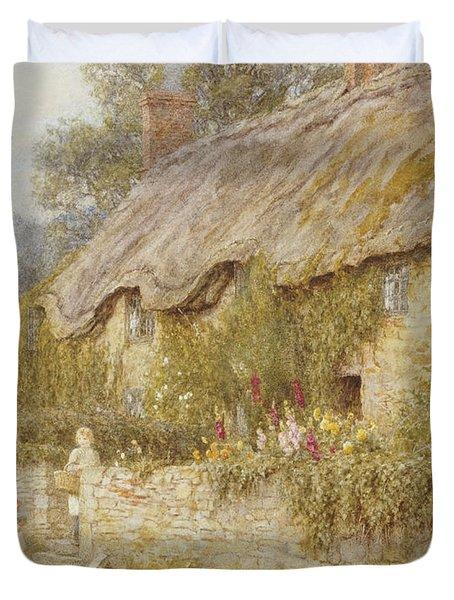 Cottage Near Wells Somerset Duvet Cover by Helen Allingham