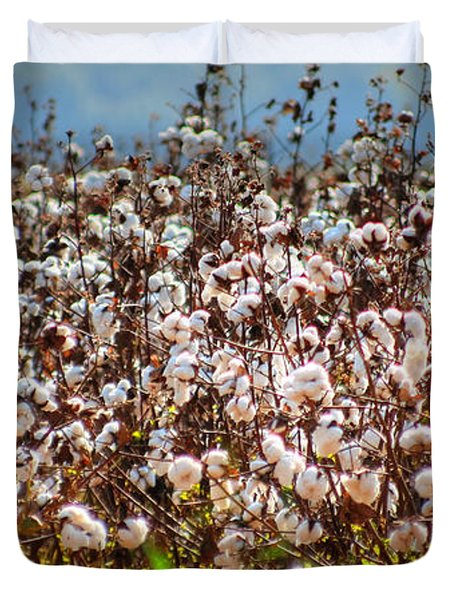 Duvet Cover featuring the photograph Cotton Field by Ester  Rogers