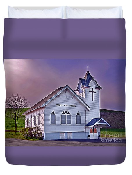 Duvet Cover featuring the photograph Country Church At Sunset Art Prints by Valerie Garner