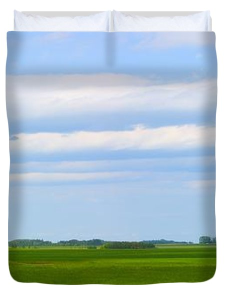 Country Grain Elevator Panoramic Duvet Cover by Corey Hochachka