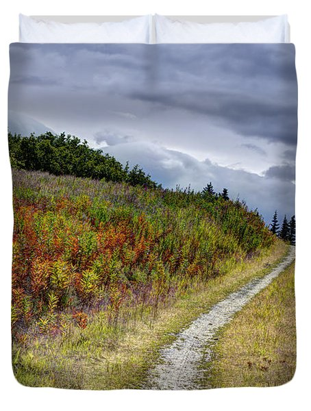 Duvet Cover featuring the photograph Country Road In Fall by Michele Cornelius