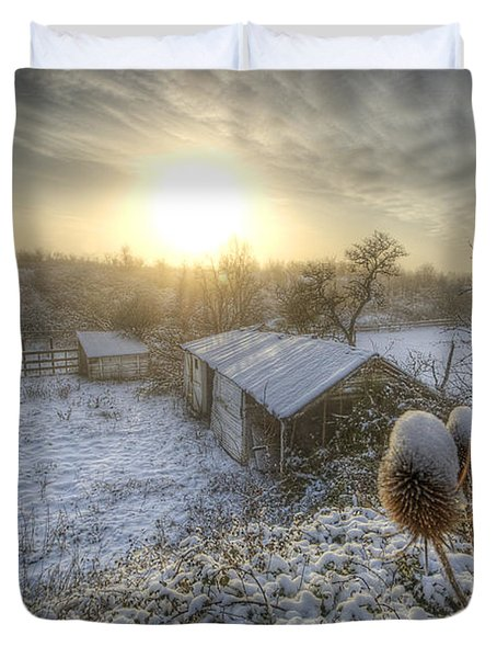 Country Snow And Sunrise Duvet Cover by Yhun Suarez