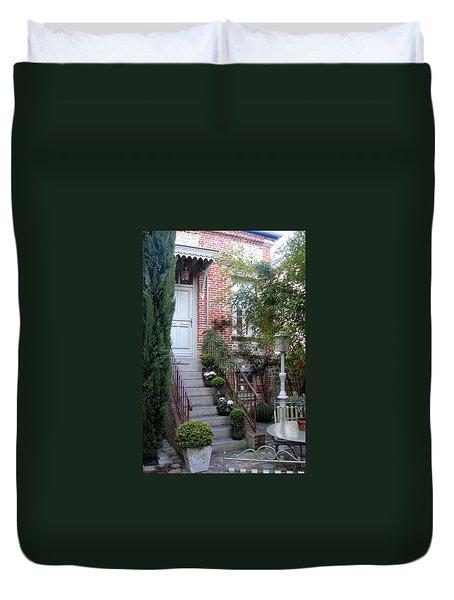 Courtyard In Honfleur Duvet Cover by Carla Parris