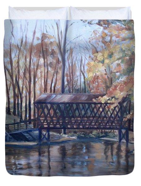 Covered Bridge At Lake Roaming Rock Duvet Cover by Donna Tuten