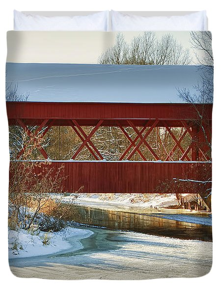 Duvet Cover featuring the photograph Covered Bridge by Eunice Gibb