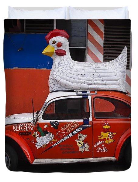 Cowboy Chicken Duvet Cover by Skip Hunt