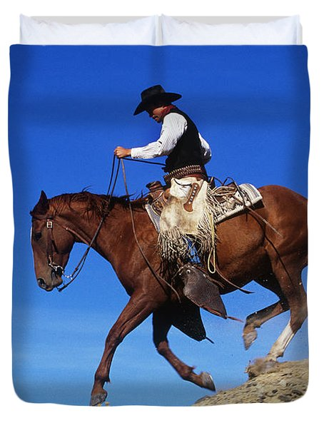 Cowboy Duvet Cover by George D Lepp and Photo Researchers