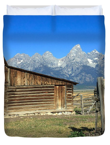 Duvet Cover featuring the photograph Cowboy With Grand Tetons Vista by Karen Lee Ensley