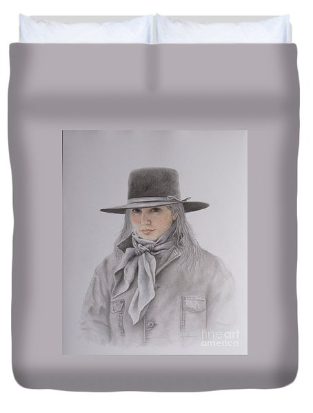 Cowgirl In Hat Duvet Cover