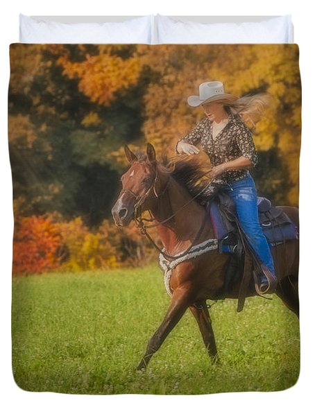 Cowgirl Duvet Cover by Susan Candelario