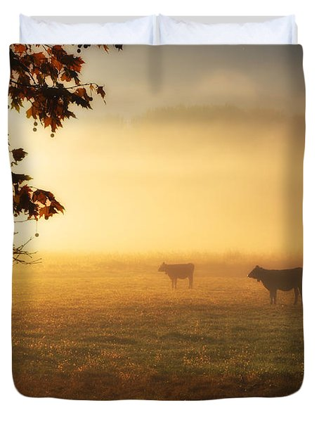 Cows In A Foggy Field Duvet Cover
