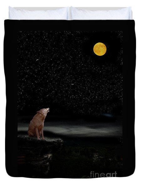 Duvet Cover featuring the photograph Coyote Howling At Moon by Dan Friend