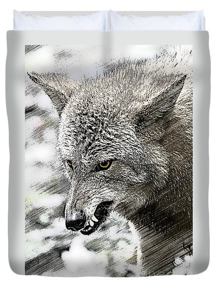 Coyote Snarling Duvet Cover by Dan Friend