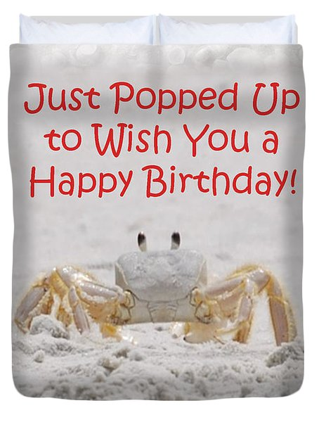 Crab Happy Birthday Duvet Cover