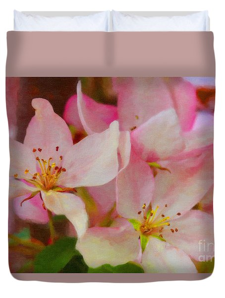 Crabapple Floral Paint Duvet Cover by Donna Munro