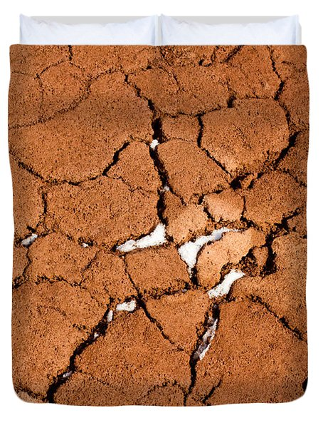 Duvet Cover featuring the photograph Cracked Red Soil  by Les Palenik