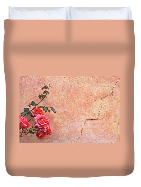 Cracked Wall And Rose Duvet Cover