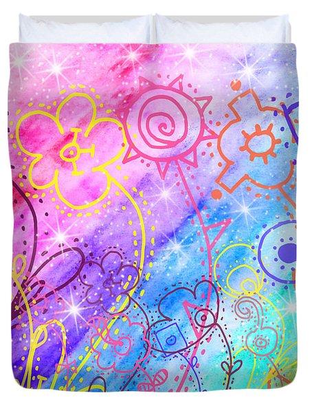 Crazy Flower Garden Duvet Cover by Debbie Portwood