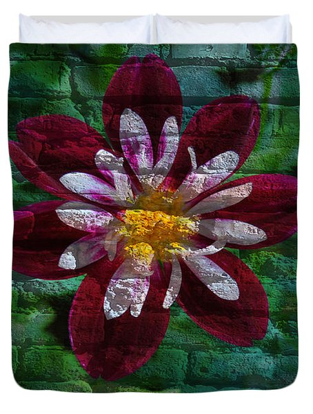 Crazy Flower Over Brick Duvet Cover by Eric Liller