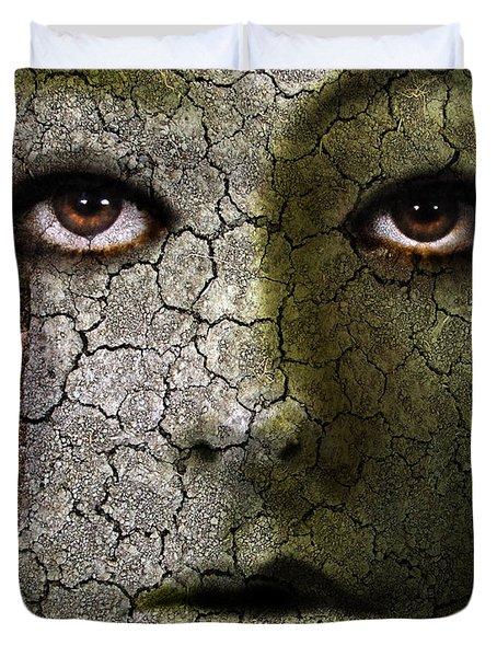 Creepy Cracked Face With Tears Duvet Cover by Jill Battaglia