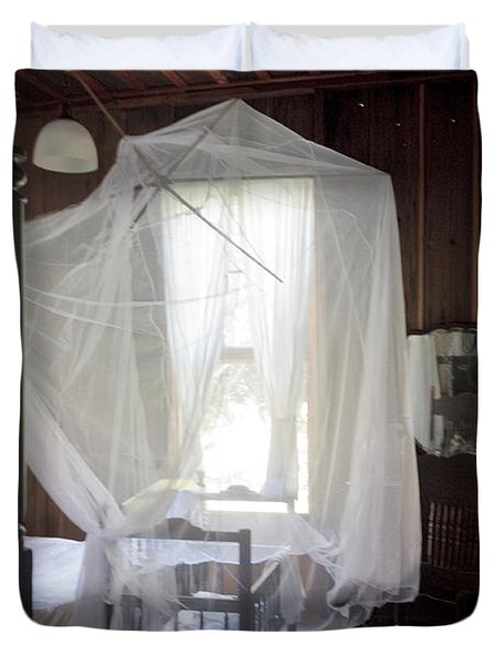 Crib With Mosquito Netting In A Florida Cracker Farmhouse Duvet Cover by Lynn Palmer