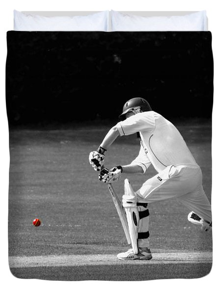 Cricketer In Black And White With Red Ball Duvet Cover