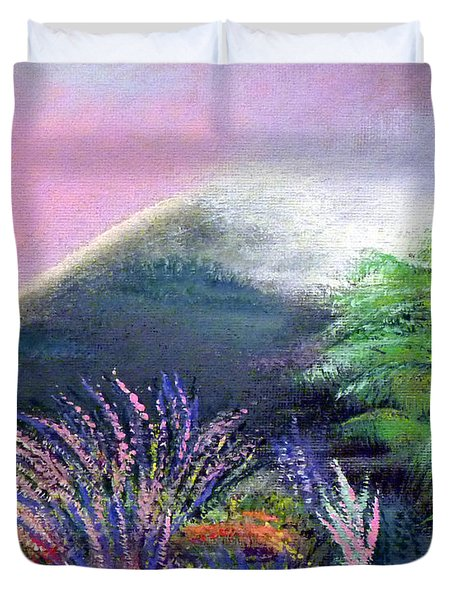 Duvet Cover featuring the painting Croagh Patrick by Alys Caviness-Gober