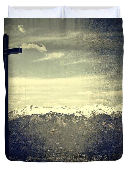 Cross In The Sky Duvet Cover by Joana Kruse