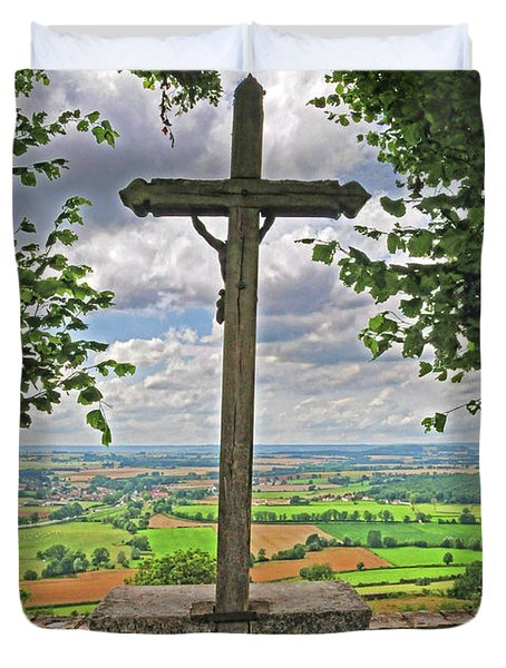 Duvet Cover featuring the photograph Crucifix Overlooking The French Countryside by Dave Mills