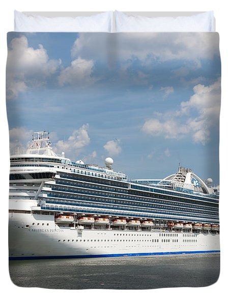 Cruise Ships At Cruiseport Boston Duvet Cover by Clarence Holmes