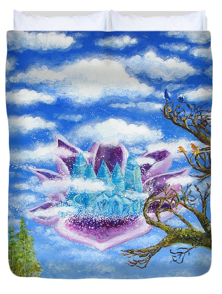 Crystal Hermitage Castle In The Clouds Duvet Cover by Ashleigh Dyan Bayer