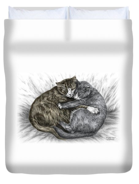 Cuddly Cats - Color Tinted Art Print Duvet Cover by Kelli Swan